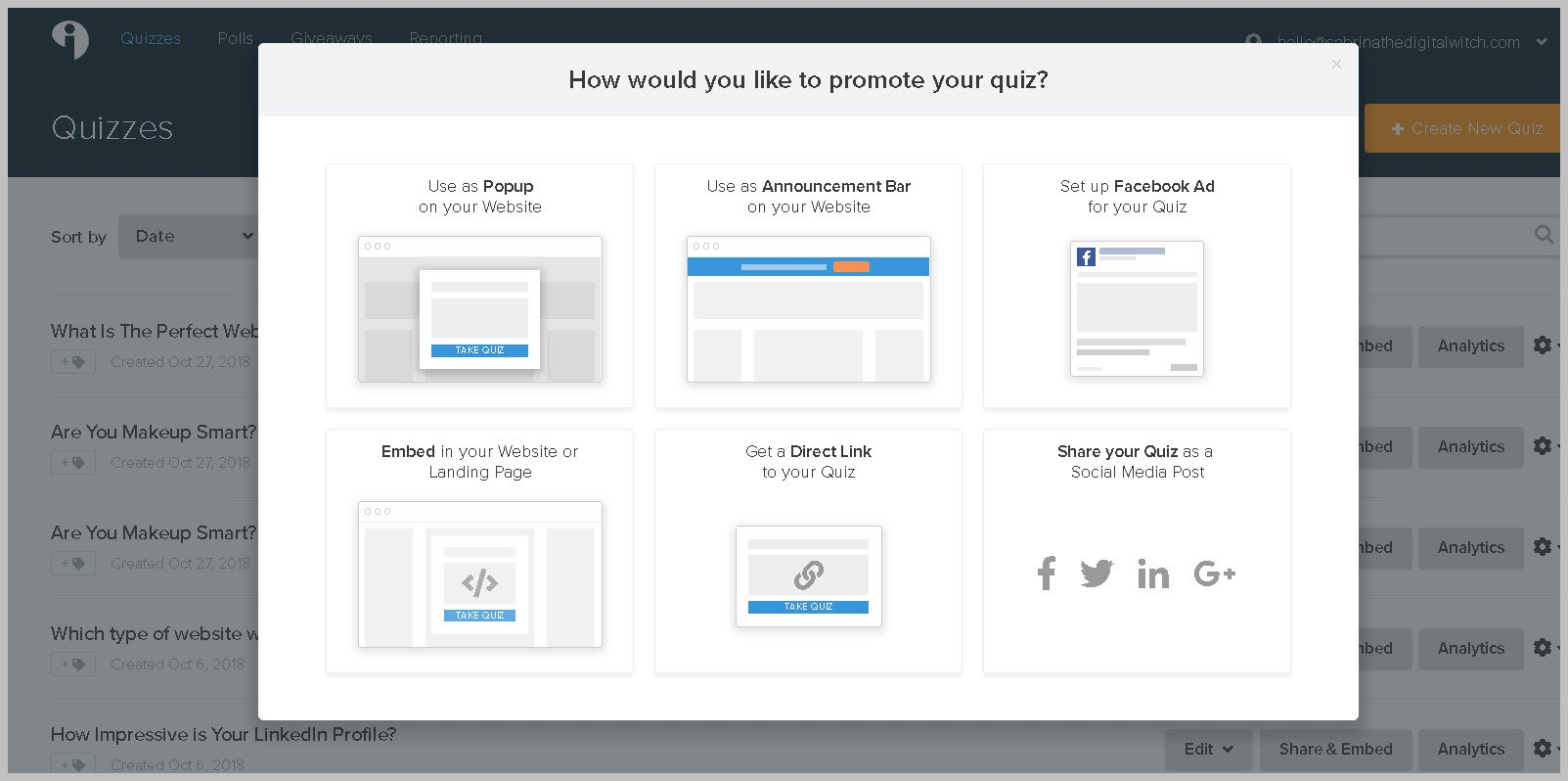 Promote and share Interact quizzes