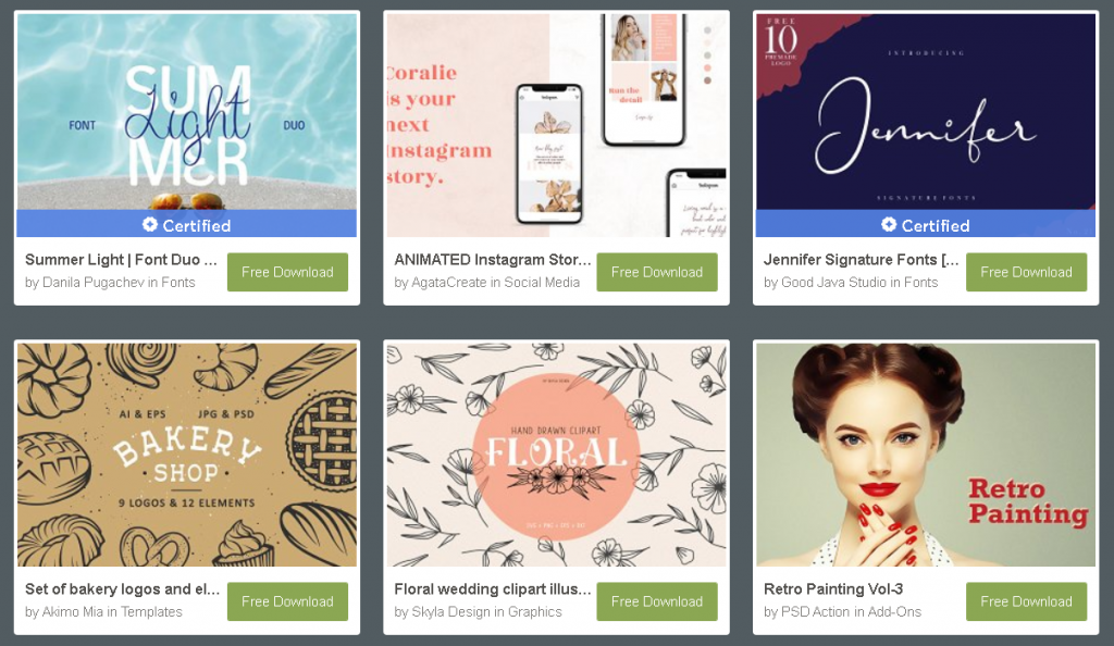 Creative Market, weekly free goodies page