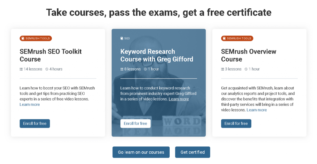SemRush free SEO-PPC courses
