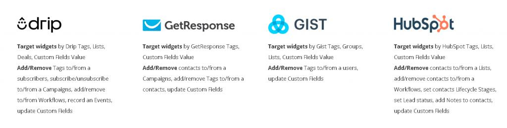 email platform: Drip, Get Response, Gist, Hubspot