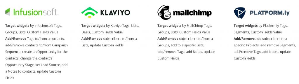 email platform: Platform, MailChimp, Infusion Soft, Klaviyo,