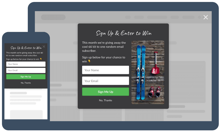 Give away popup widget