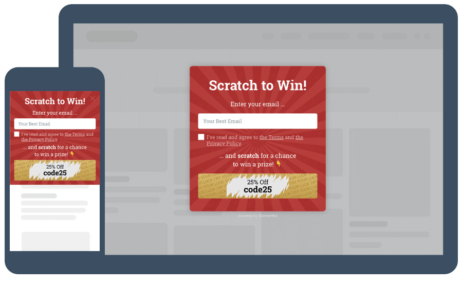 Scratch card website widget