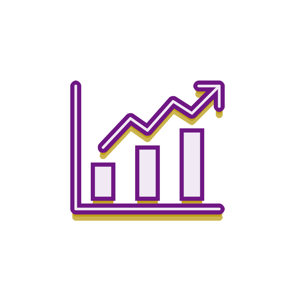 Monetary graphic gold and purple icon