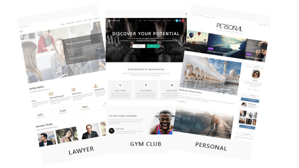 3 websites layout examples