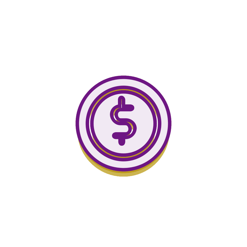 Dollar coin gold and purple icon