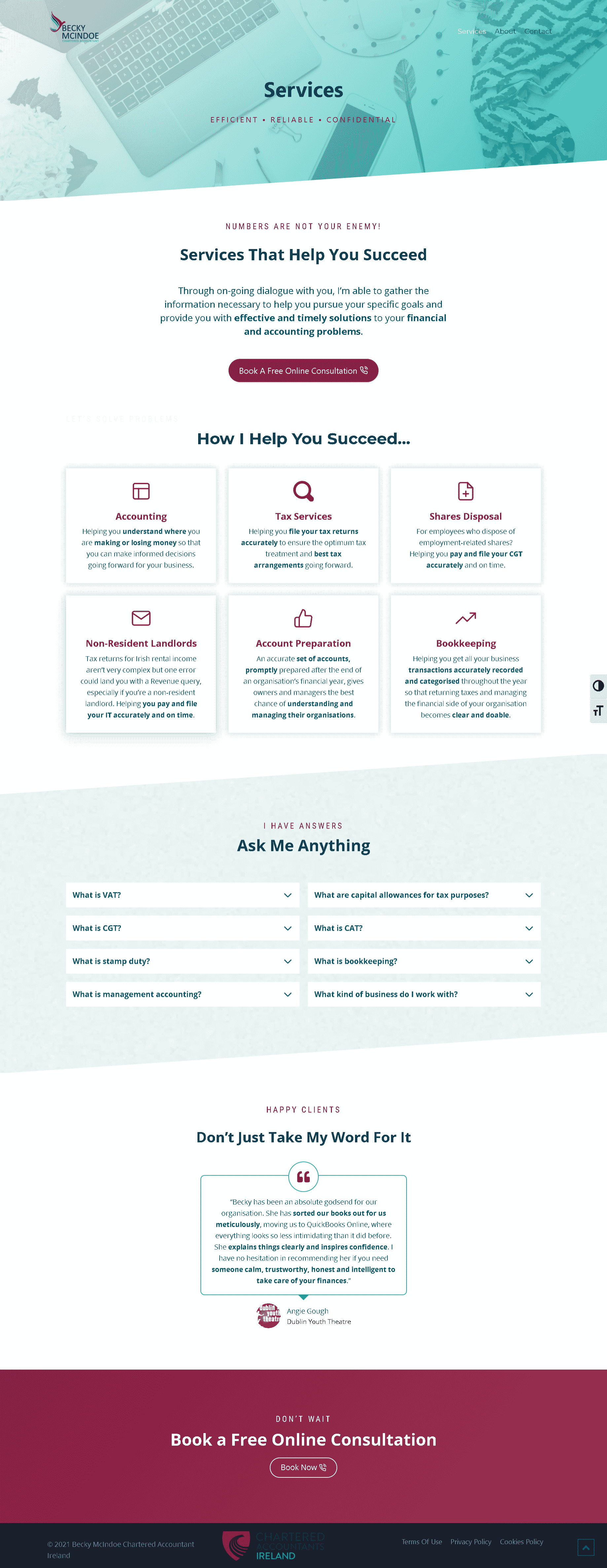 Accountant service page built on WordPress